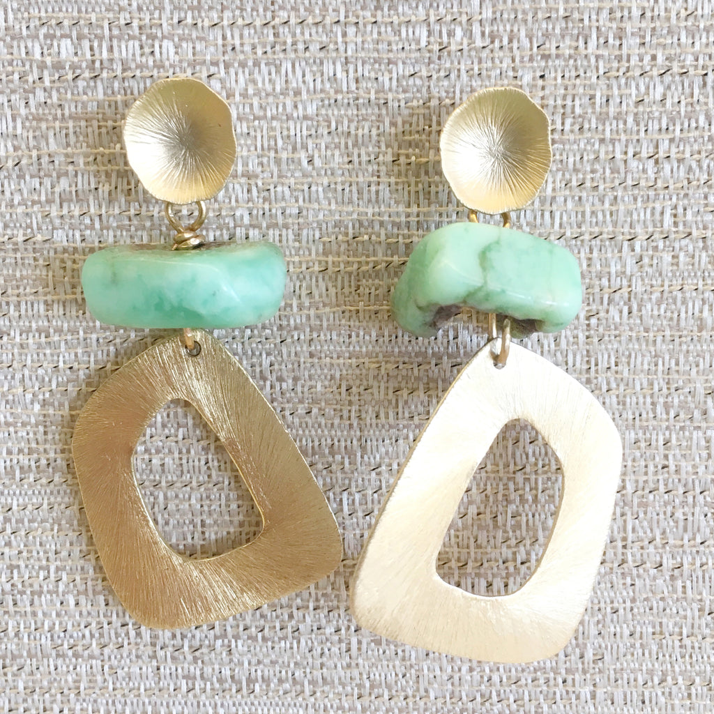 Geometric Drops | Chrysoprase - burnmark