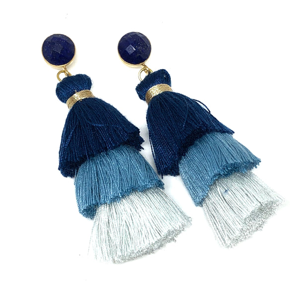 Ombre Tassel Earrings | Lapis - burnmark