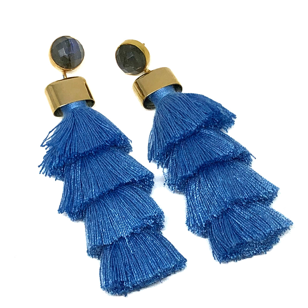 Four Tier Tassel Earrings | Carolina Blue - burnmark