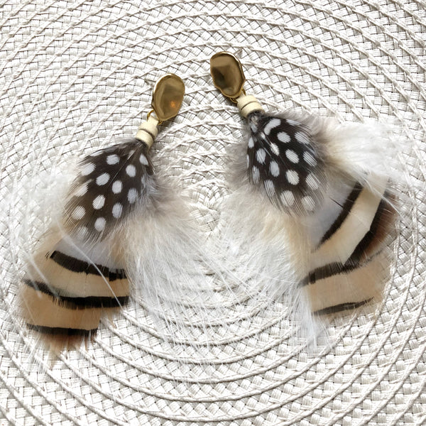 Feather Earrings | Cream + White - burnmark