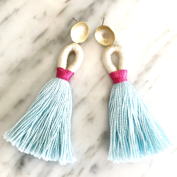 Looped Tassel Earrings | Baby Blue + Pink - burnmark
