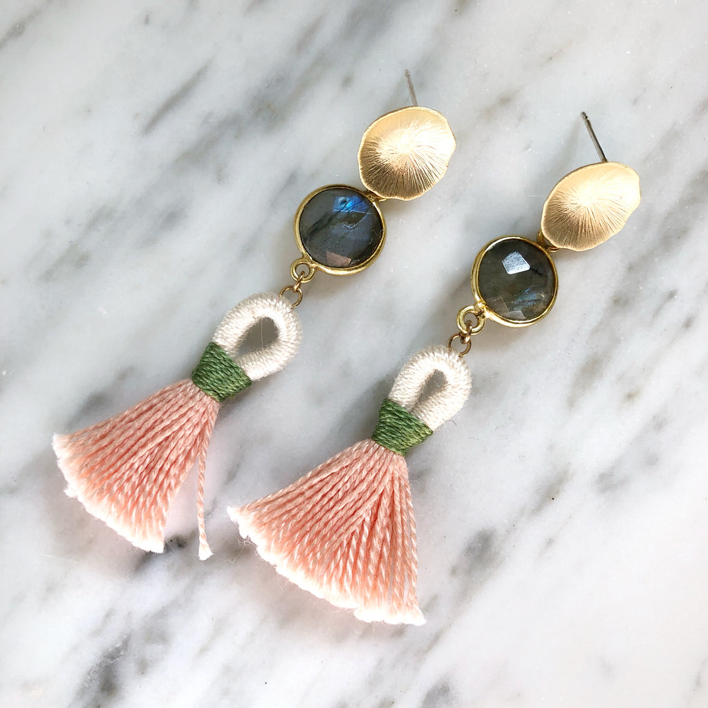 Mini Looped Tassel Earrings | Baby Pink + Labradorite - burnmark