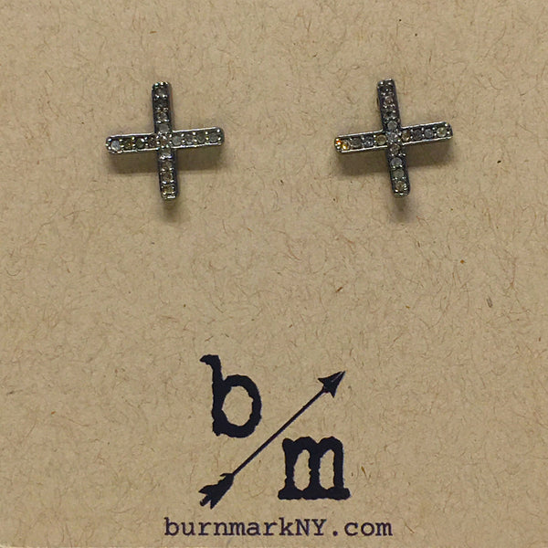 Pave Diamond X Stud Earrings - burnmark