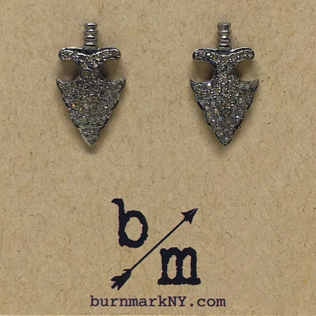 Pave Diamond Arrowhead Stud Earrings - burnmark