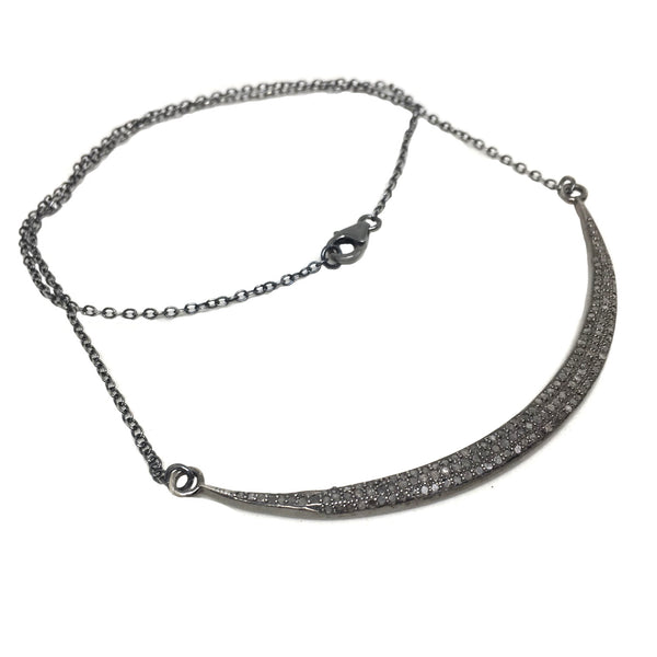 Pave Diamond Crescent Bar Necklace | Large - burnmark