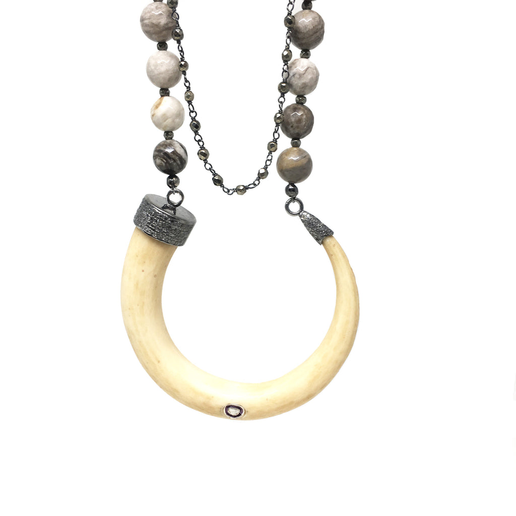 Rosecut and Pave Diamond Horn Necklace - burnmark