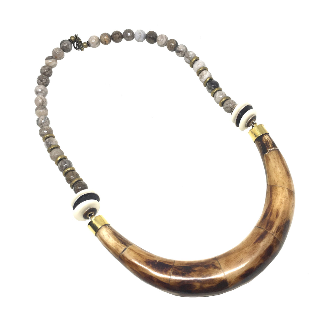Hudson Necklace | Jasper & African Brass - burnmark