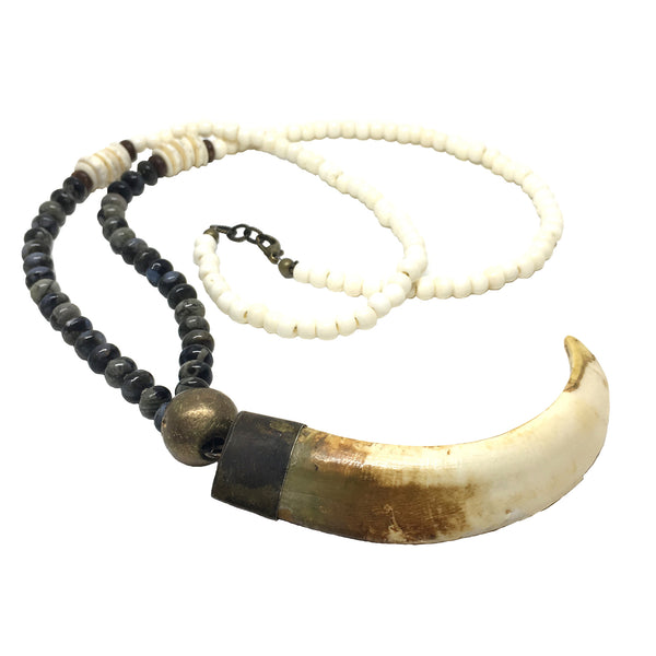 Astoria Necklace | Labradorite & African Brass - burnmark
