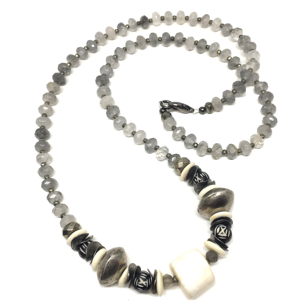 Leroy Necklace | Agate and African Silver - burnmark