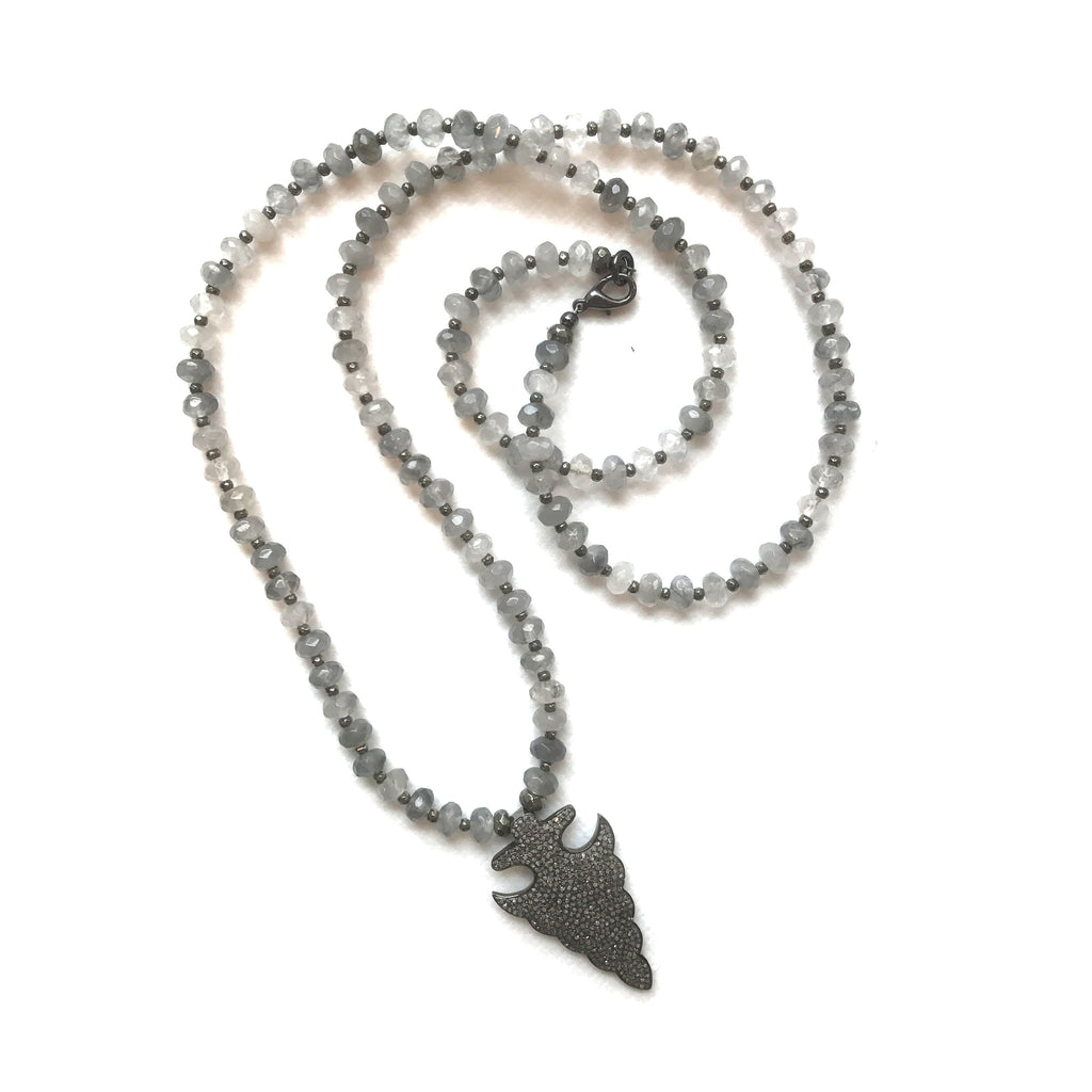 Pave Diamond Arrowhead Necklace | Grey Agate - burnmark