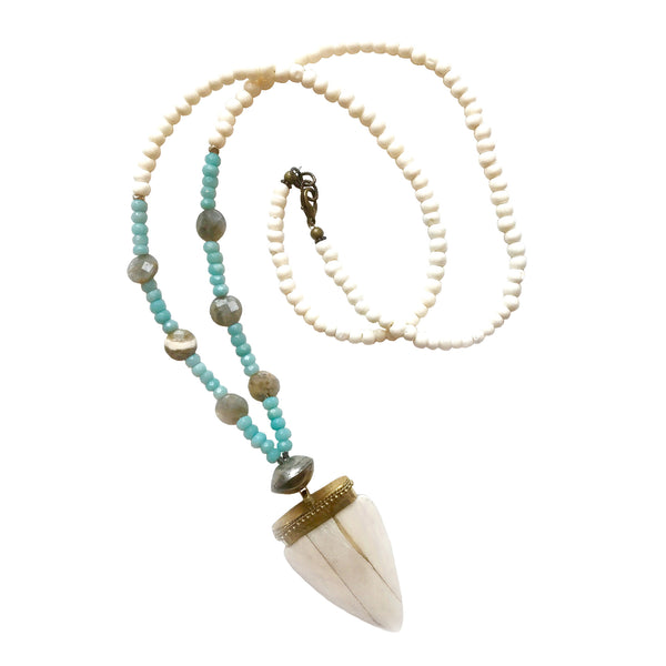 Bedford Necklace | Aquamarine + Labradorite - burnmark