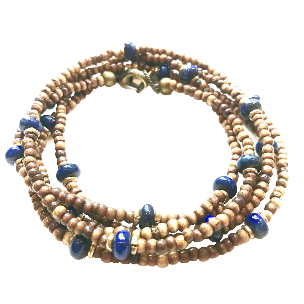 Sullivan Layering Necklace | Lapis + African Brass - burnmark