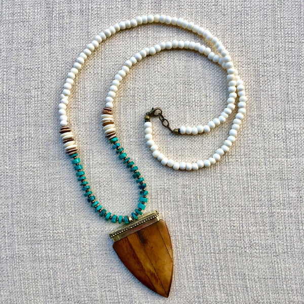 Bedford Necklace | Turquoise + Pyrite - burnmark