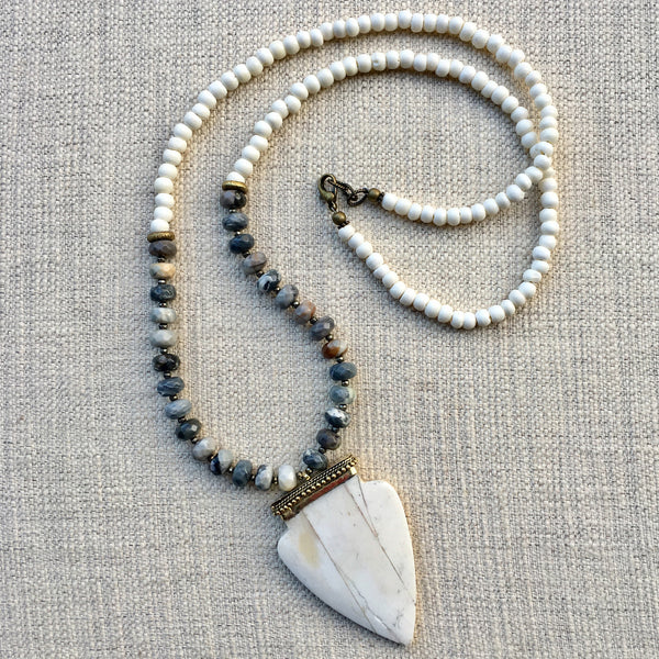 Bedford Necklace | Jasper & African Brass - burnmark
