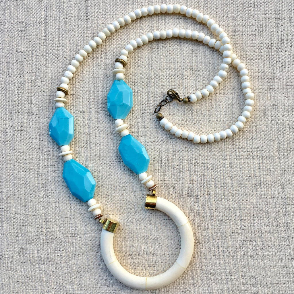 Perry Necklace | Baby Blue + African Brass - burnmark