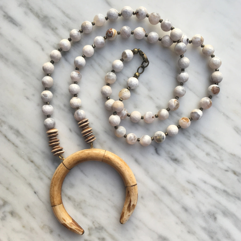 Perry Necklace | White Agate + Pyrite - burnmark