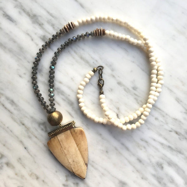 Bedford Necklace | Labradorite & African Brass - burnmark
