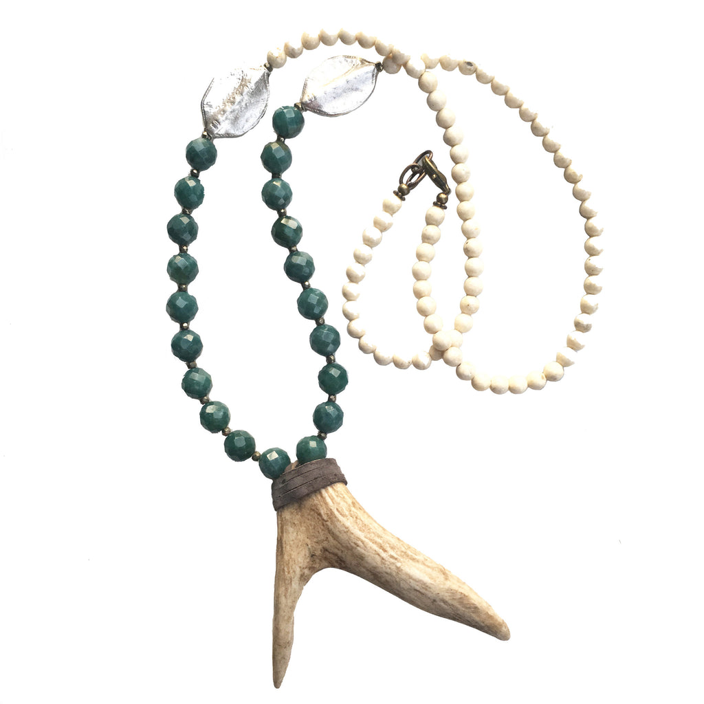 Bowery Necklace | Teal + Silver Leaf Casting - burnmark
