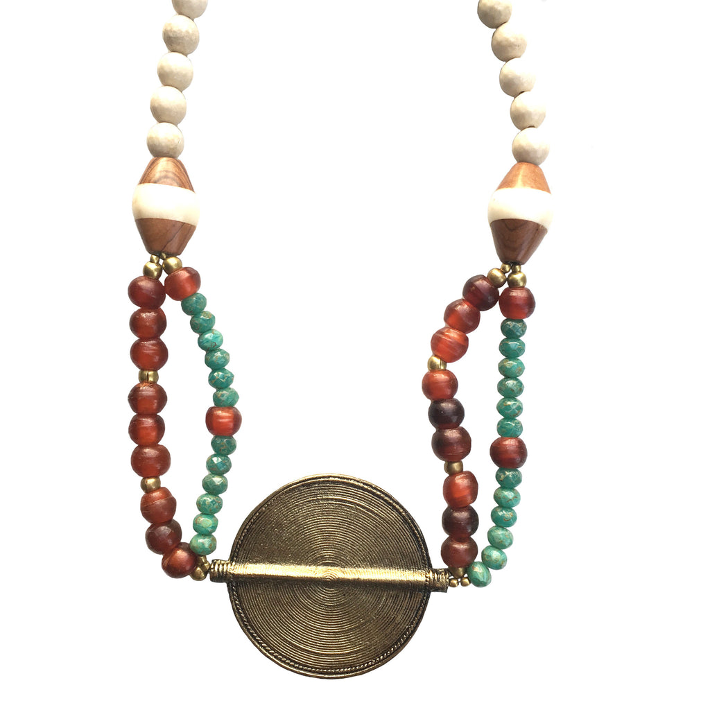 Leroy Necklace | Czech Glass + African Brass - burnmark