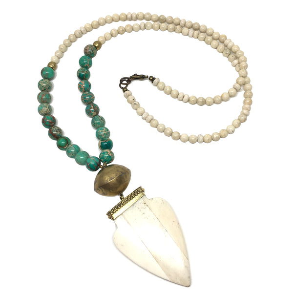 Bedford Necklace | Riverstone + African Brass - burnmark