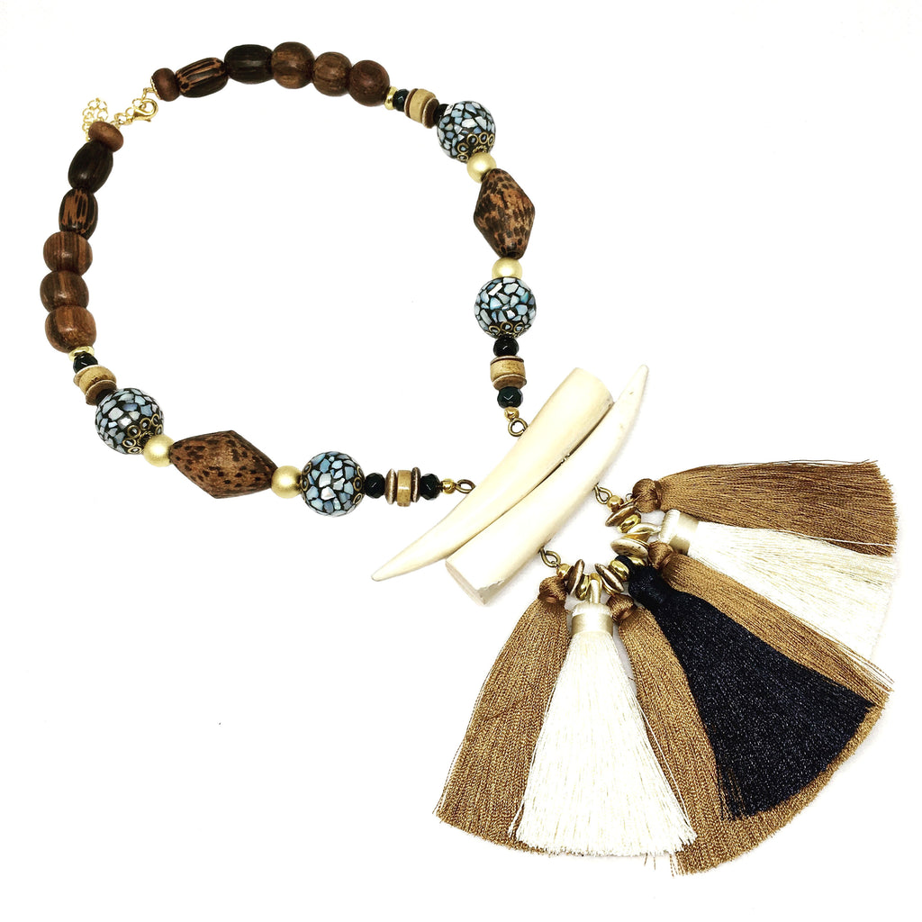 Tassel Necklace | Navy + Olivewood - burnmark