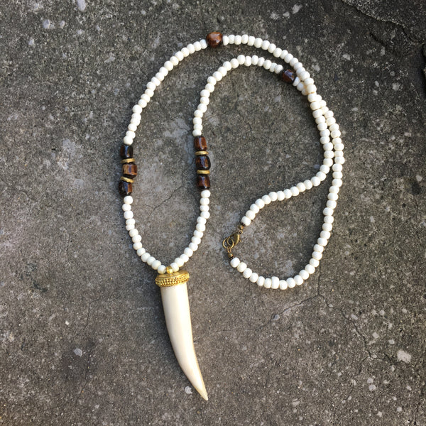 Astoria Necklace | Bone & Nigerian Brass - burnmark