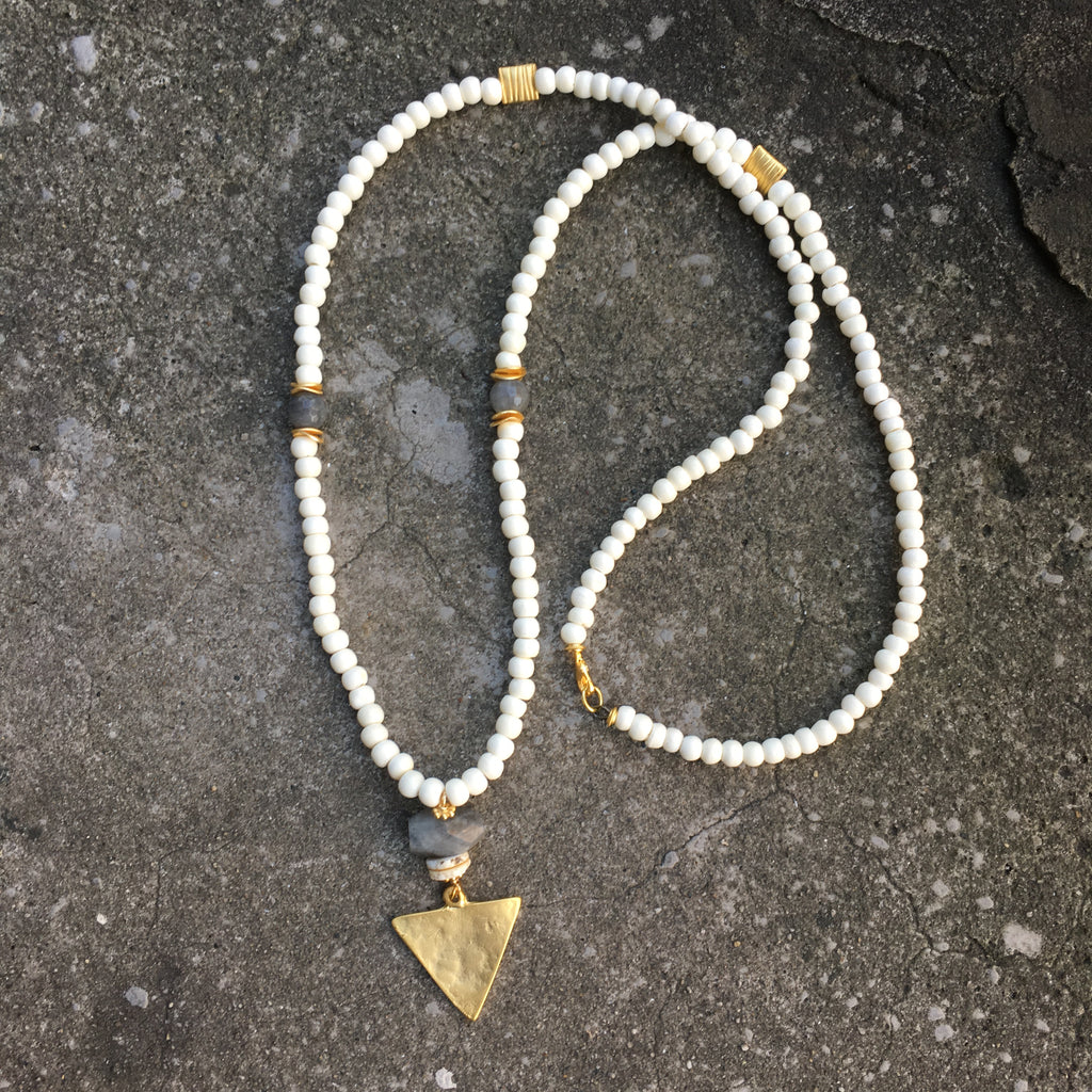 Sullivan Necklace | Labradorite & Bone - burnmark