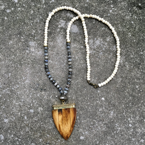 Bedford Necklace | Labradorite & Nigerian Brass - burnmark