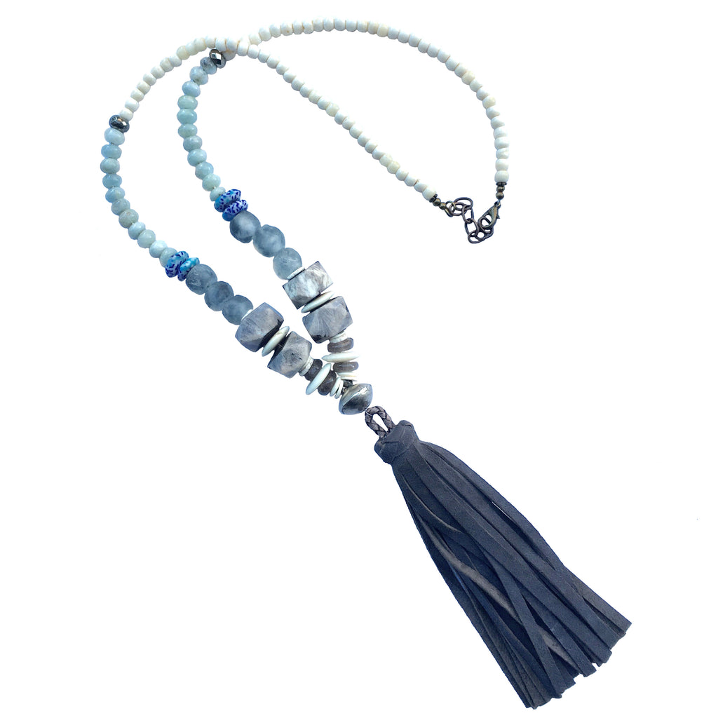 Clarkson Necklace | Aquamarine + African Trade Beads - burnmark
