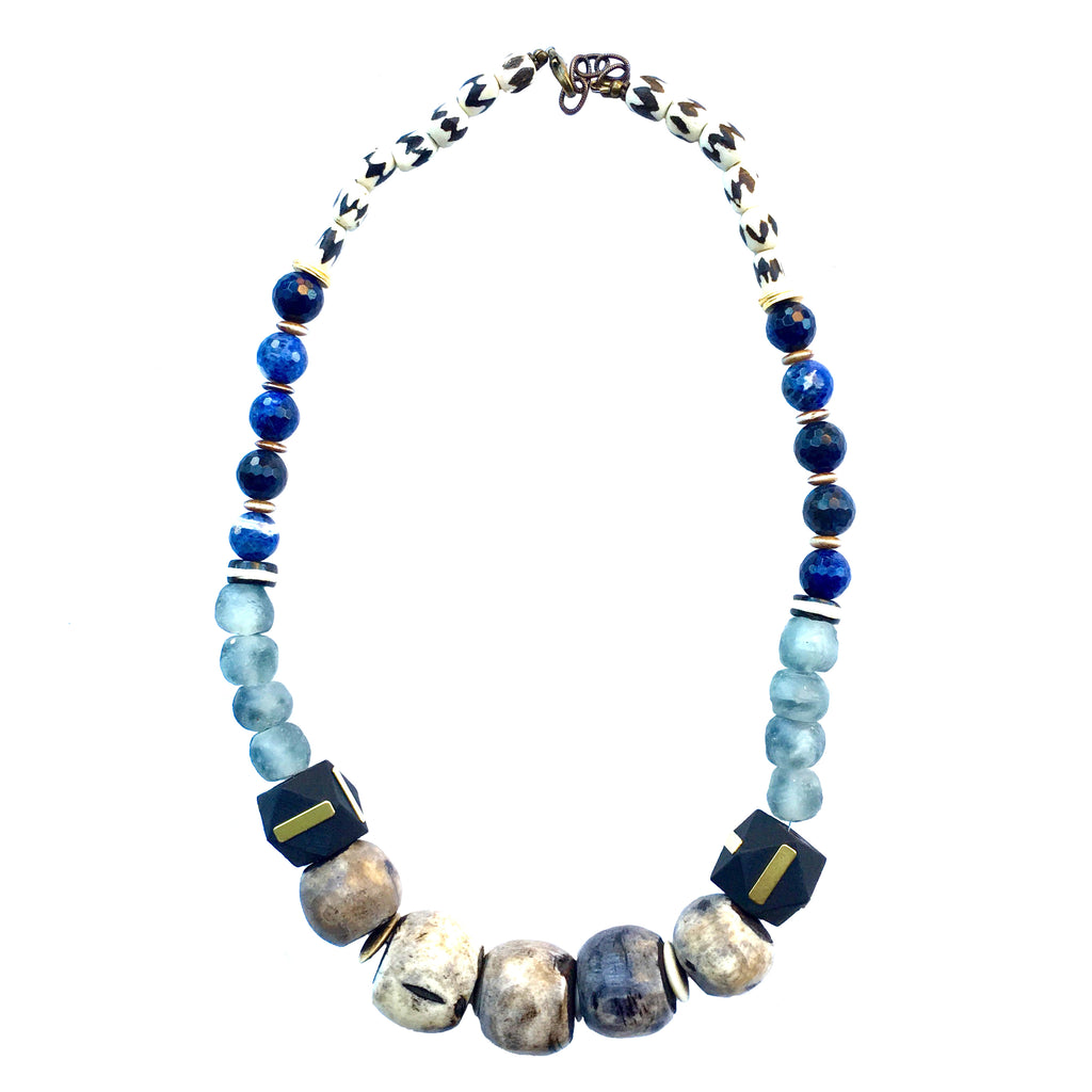 Leroy Necklace | Lapis + Batik - burnmark