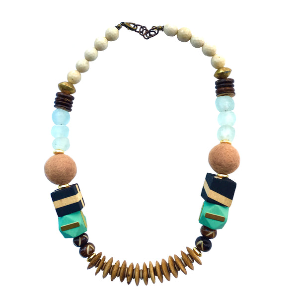 Leroy Necklace | Mint + Brown - burnmark