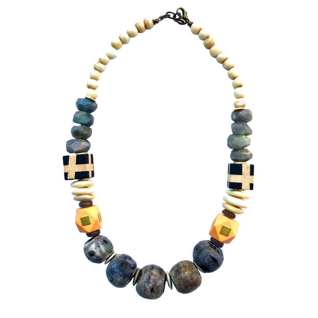 Leroy Necklace | Labradorite + Orange - burnmark