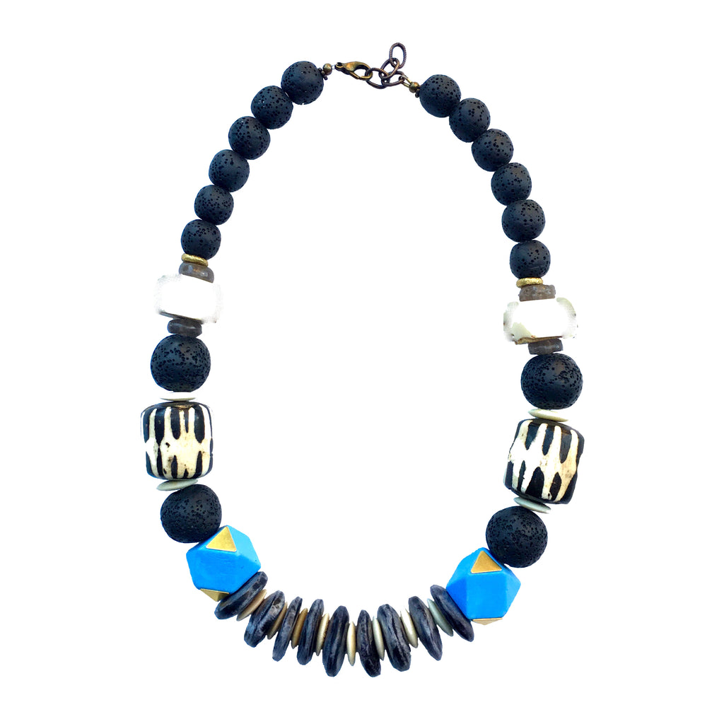 Leroy Necklace | Powder Blue + Batik - burnmark