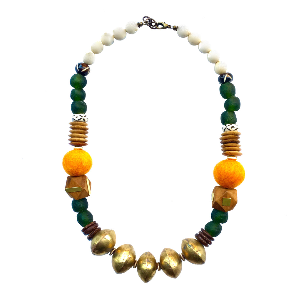 Leroy Necklace | Orange + Olive - burnmark