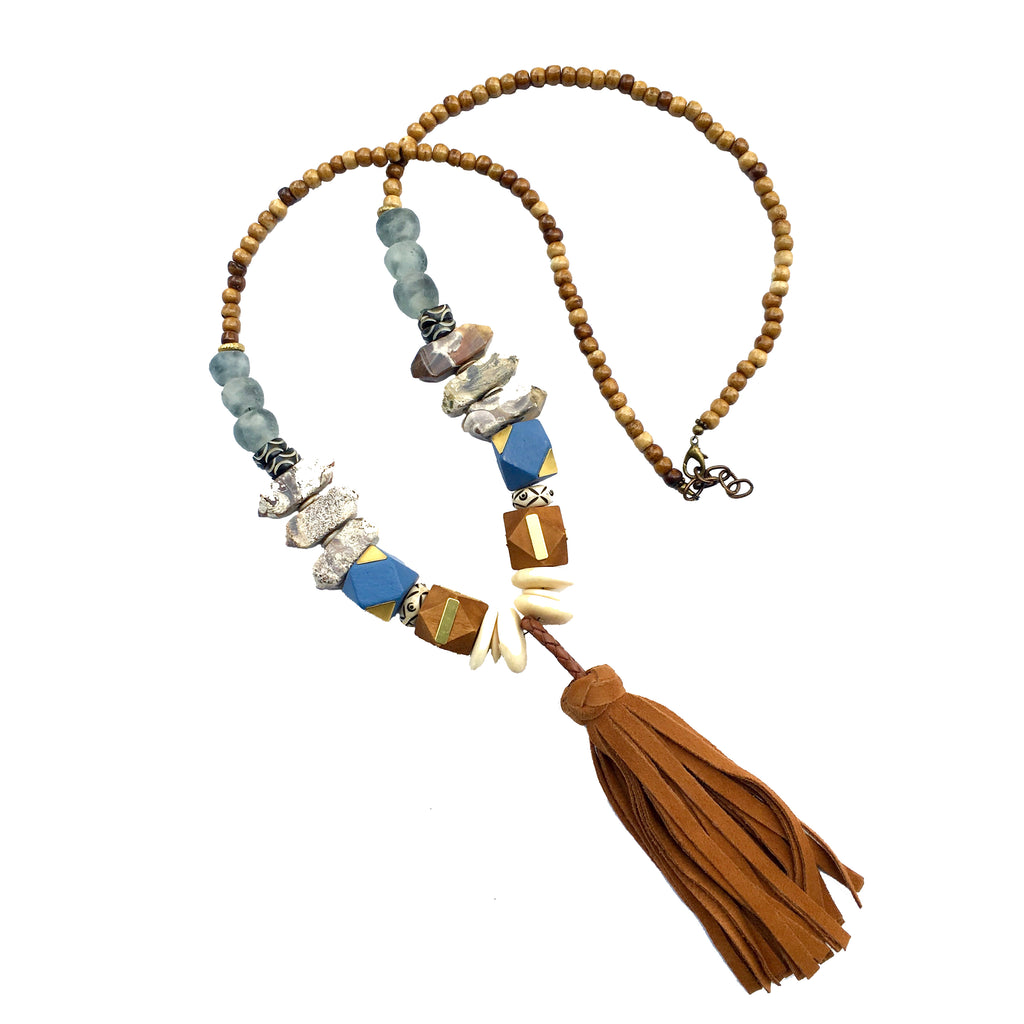Clarkson Necklace | Jasper + African Trade Beads - burnmark