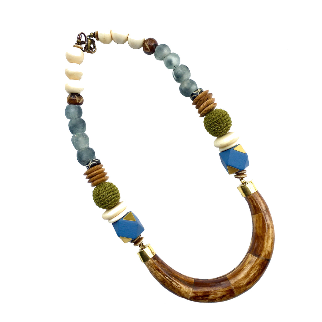 Hudson Necklace | Spruce & Baby Blue - burnmark
