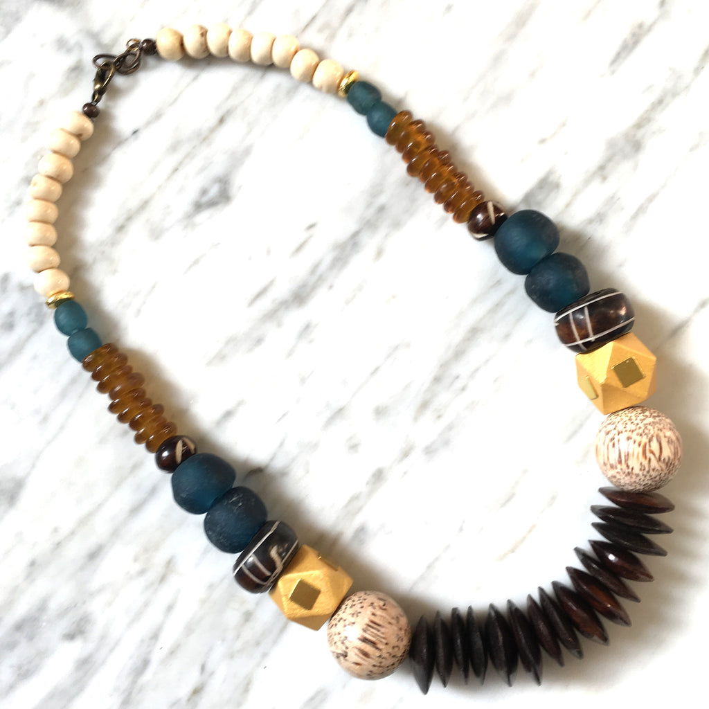 Leroy Necklace | Teal + Rust - burnmark
