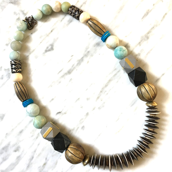 Leroy Necklace | Olive Wood + Amazonite - burnmark