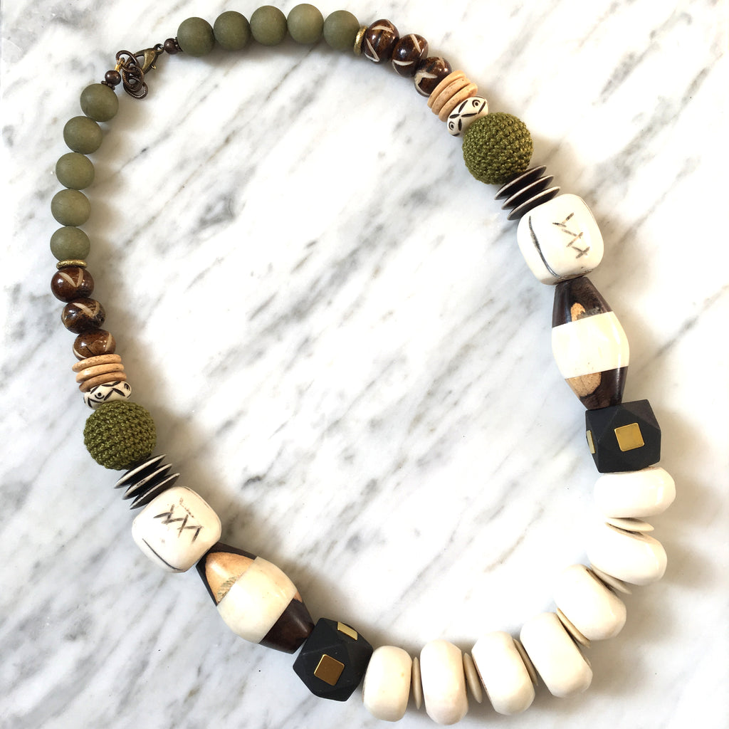 Leroy Necklace | Matte Olive + Batik - burnmark