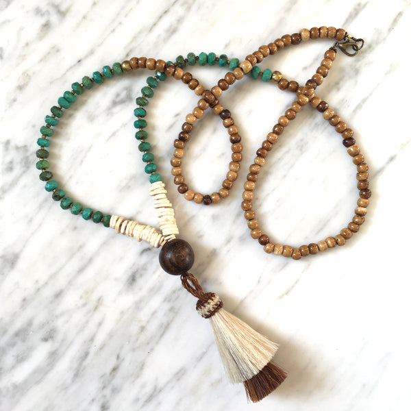 Horsehair Tassel Necklace | Turquoise + Palm Wood - burnmark