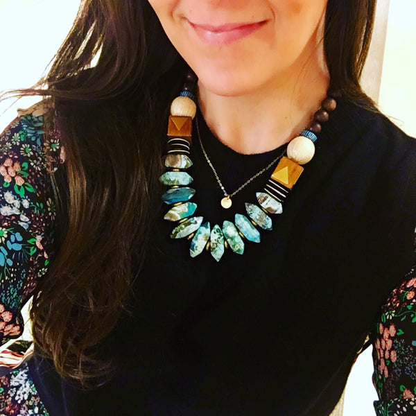 Leroy Necklace | Turquoise + Olivewood - burnmark