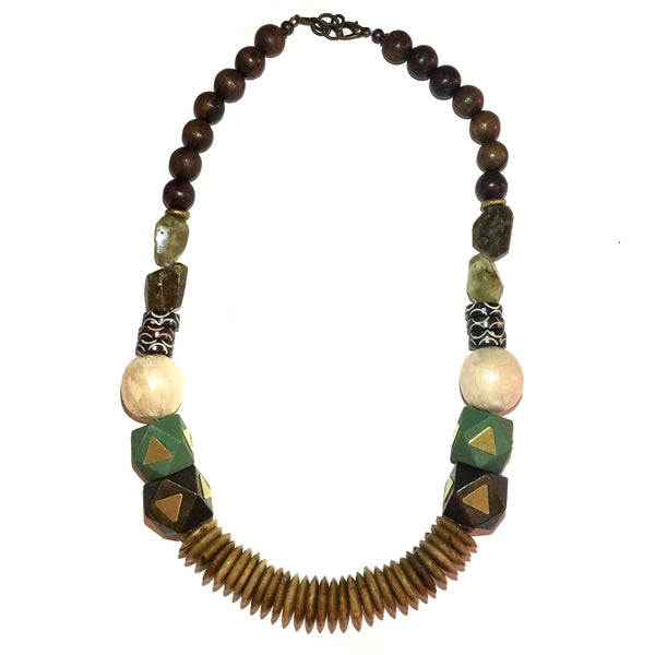 Leroy Necklace | Green Garnet + Olivewood - burnmark