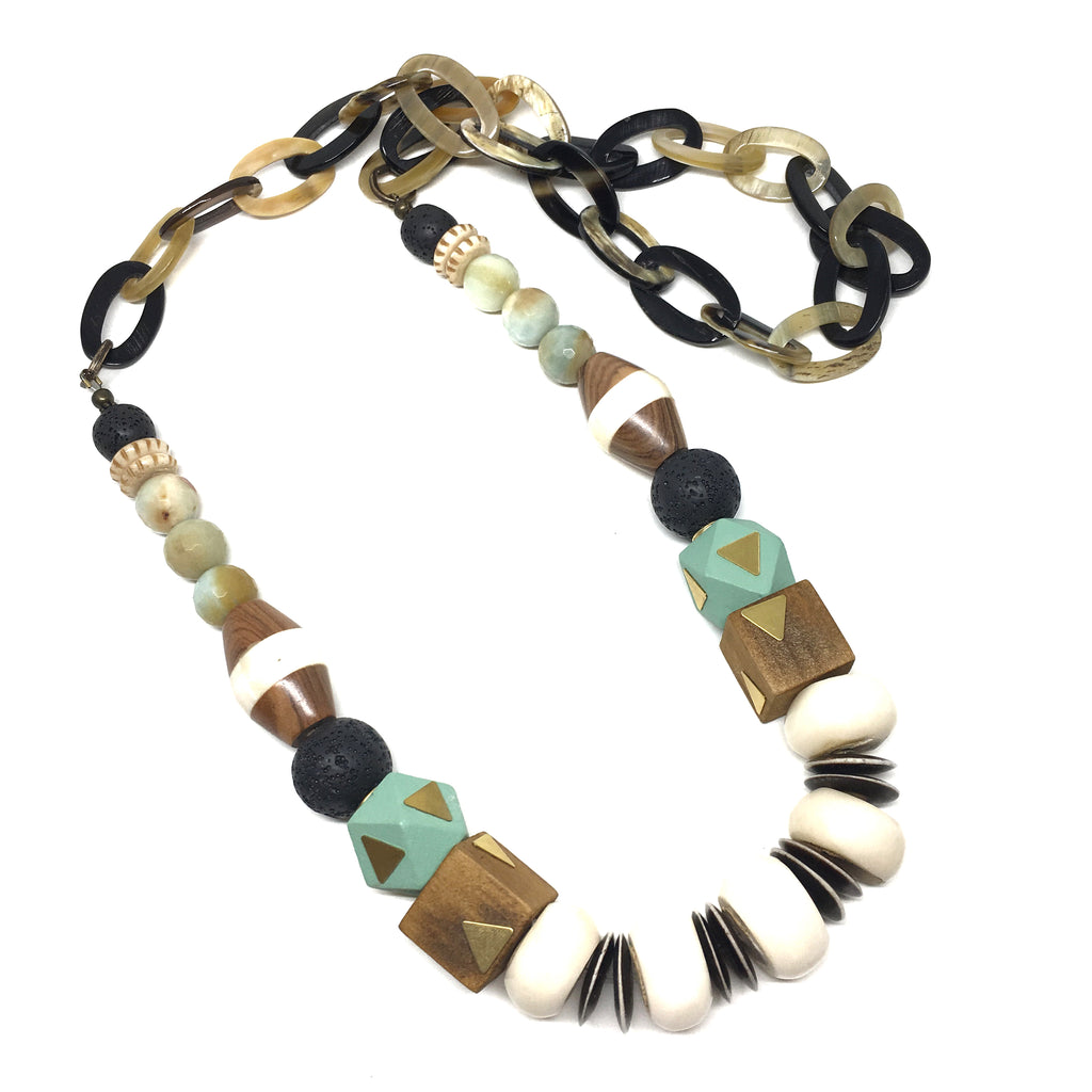 Leroy Necklace | Mint Green + Brown - burnmark
