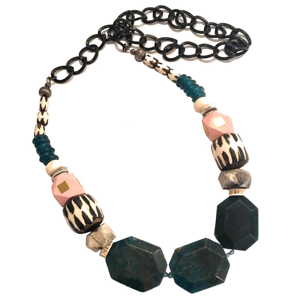 Leroy Necklace | Teal Apatite + Soft Pink - burnmark