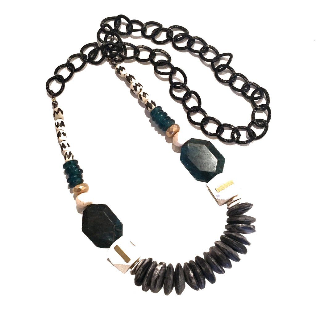 Leroy Necklace | Teal Apatite + Batik - burnmark