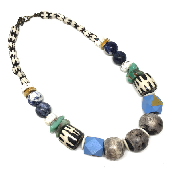 Leroy Necklace | Chrysoprase + Lapis - burnmark