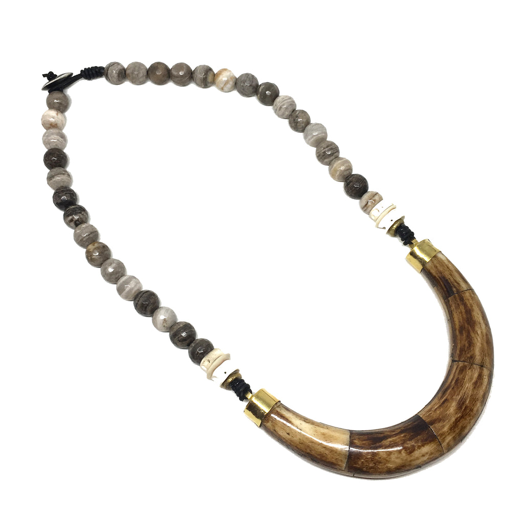 Hudson Necklace | Jasper + African Brass - burnmark