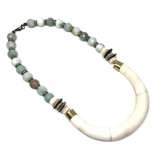 Hudson Necklace | Amazonite + African Brass - burnmark