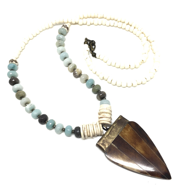 Bedford Necklace | Amazonite + African Brass - burnmark