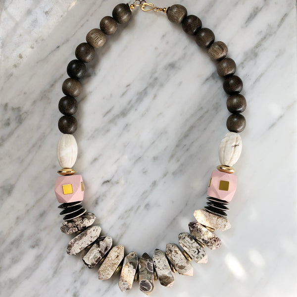 Leroy Necklace | Pink + Olivewood - burnmark